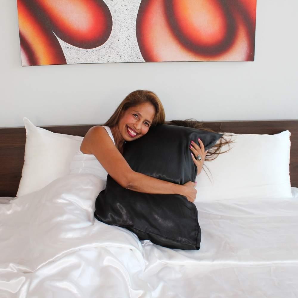 black satin pillow slip