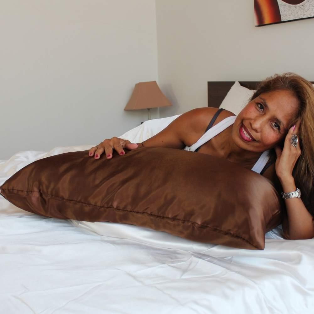 brown satin silk pillowcase