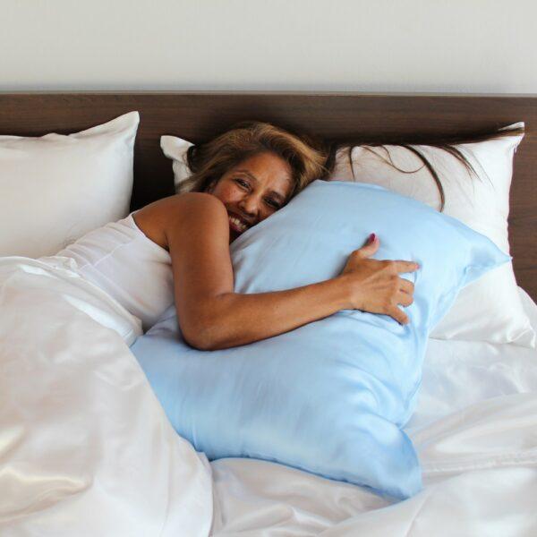 light blue mulberry silk pillow case